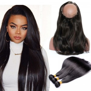 360 Frontal Closure With 3 Bundles Straight Brazilian Virgin Hair 360 Lace Band