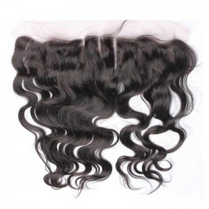 Natural Color Body Wave Indian Remy Hair Lace Frontal Closure 13x4inches