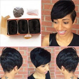 Brazilian Human Short Hair Extensions 27 Pieces Short Human Straight Hair Weave Style