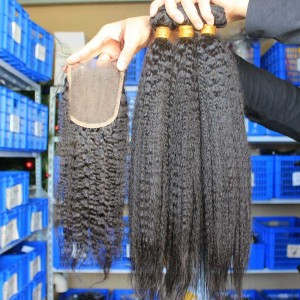 Indian Virgin Hair Kinky Straight Free Part Lace Closure with 3pcs Weaves