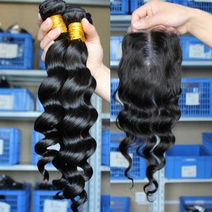 Malaysian Virgin Hair Loose Wave Middle Part Lace Closure with 3pcs Weaves