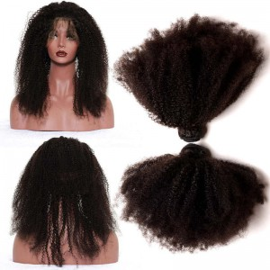 360 Lace Frontal Band Frontal Afro Kinky Curly Brazilian Virgin Hair Lace Frontals with Two Bundles