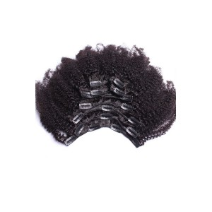 Afro Kinky Curly Indian Remy Hair Clip In Human Hair Extensions Natural Color