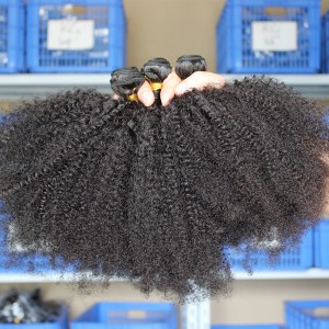 4 Bundles Natural Color Afro Kinky Curly Brazilian Virgin Human Hair Weaves