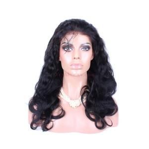 Natural Color Body wave Peruvian Virgin Human Hair Glueless Full Lace Wigs