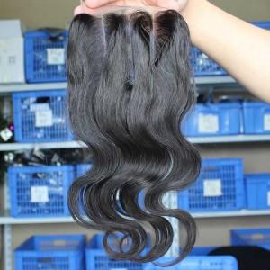 Natural Color Body Wave Peruvian Virgin Hair Three Part Lace Closure 4x4inches