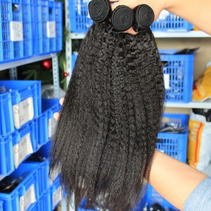 Natural Color Kinky Straight Peruvian Virgin Human Hair Weaves 4pcs Bundles