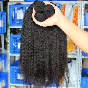 European Virgin Human Hair Kinky Straight Hair Weave Natural Color 3 Bundles