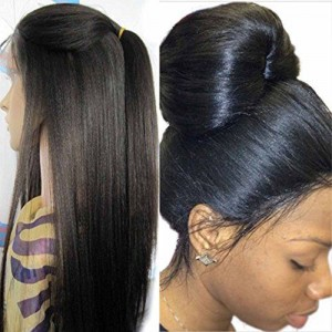 Brazilian Virgin Human Hair Yaki Straight Full Lace Wigs Natural Color