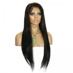 Natural Color(#1 #1B #4) Silk Straight Malaysian Virgin Human Hair Wig Lace Front Wigs
