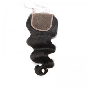 Body Wave Malaysian Virgin Hair Middle Part Lace Closure 4x4inches Natural Color