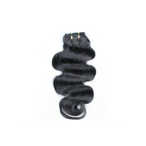 Body Wave Indian Remy Hair Clip In Human Hair Extensions Natural Color