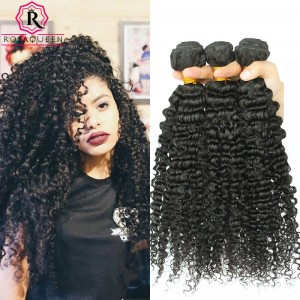 Brazilian Kinky Curly Hair Weaves Deep Curly 3B 3C Virgin Hair Natural Color