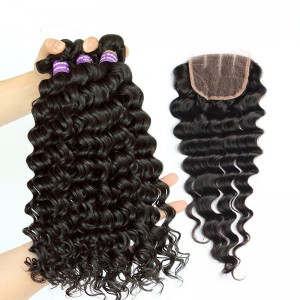 Indian Remy Human Hair Deep Wave Free Part Lace Closure with 3pcs Weaves Weft