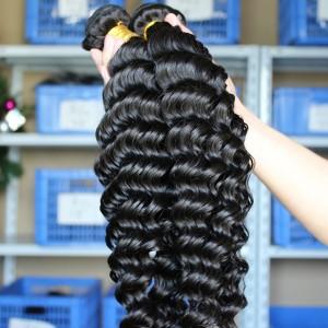 Deep Wave Unprocessed Mongolian Virgin Human Hair Weave 3 Bundles Natural Color