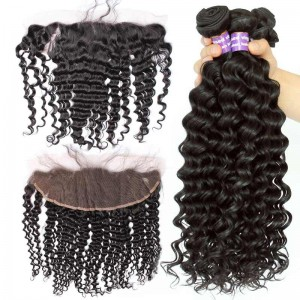 Natural Color Deep Wave Brazilian Virgin Hair Lace Frontal Closure Free Part With 3pcs Weaves