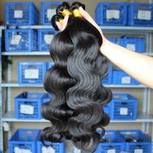 Malaysian Virgin Human Hair Extensions Weave Body Wave 4 Bundles Natural Color