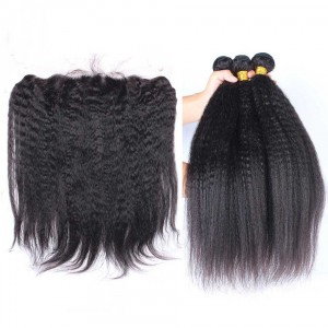 Natural Color Italian Yaki Straight Brazilian Virgin Hair Lace Frontal With 3pcs Weaves