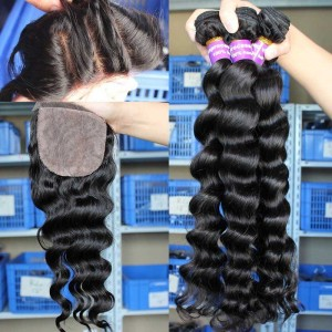 Loose Wave Brazilian Virgin Hair 4X4inches Three Part Silk Base Closure with 3pcs Weaves