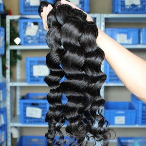 Mongolian Virgin Human Hair Weaves Loose Wave 3 Bundles Natural Color