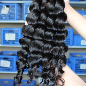 Natural Color Indian Virgin Human Hair Loose Wave Hair Weave 3pcs Bundles