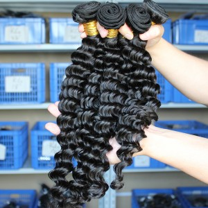 Natural Color Deep Wave Peruvian Virgin Human Hair Weave 4pcs Bundles