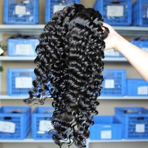 Malaysian Virgin Human Hair Extensions Deep Wave Hair Wave 4 Bundles Natural Color