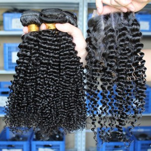 Indian Virgin Hair Kinky Curly Free Part Lace Closure with 3pcs Weaves