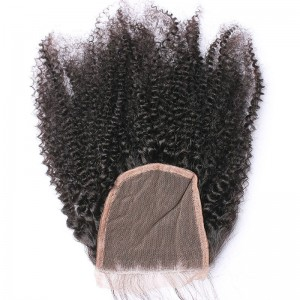 Indian Remy Hair Afro Kinky Curly Three Part Lace Closure 4x4inches Natural Color