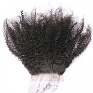 Indian Virgin Hair Afro Kinky Curly Three Part Lace Closure 4x4inches Natural Color