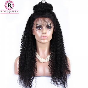 250% Density Kinky Curly Human Hair Wigs Lace Front Human Hair Wigs Natural Black