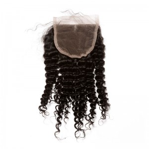 Malaysian Virgin Hair Kinky Curly Three Part Lace Closure 4x4inches Natural Color