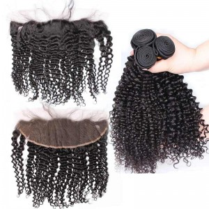3Pcs Hair Bundles With Lace Frontal Closure Malaysian Virgin Hair Kinky Curly Natural Color