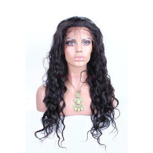 Natural Color Loose Wave Indian Remy Human Hair Wigs Silk Top Lace Wigs