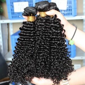 Natural Color Kinky Curly Peruvian Virgin Human Hair Weave 4pcs Bundles