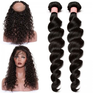 360 Lace Frontal Band Loose Wave Brazilian Virgin Hair Lace Frontals with Two Bundles