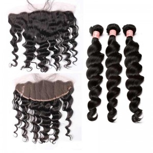 Natural Color Loose Wave Brazilian Virgin Hair Lace Frontal Free Part With 4 Bundles