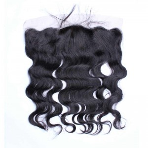 Natural Color Body Wave Brazilian Virgin Hair Silk Base Lace Frontal Closure 13x4inches