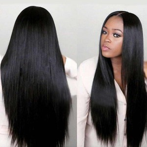 Natural Color Unprocessed Peruvian Virgin 100% Human Hair Silky Straight Full Lace Wigs
