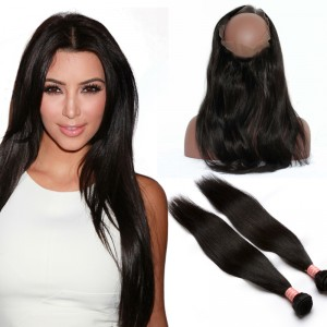 360 Lace Frontal With 2 Bundles Brazilian Virgin Hair Straight 360 Circle Lace Frontal Wigs