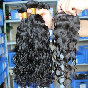Indian Remy Hair Water Wave Middle Part Lace Closure with 3pcs Weaves