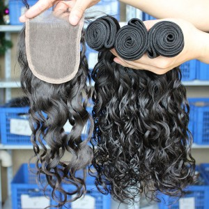 Peruvian Virgin Hair Water Wave Hair Extensions Three Part Lace Closure with 3pcs Weaves