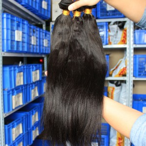 Malaysian Virgin Human Hair Extensions Weave Yaki Straight 4 Bundles Natural Color