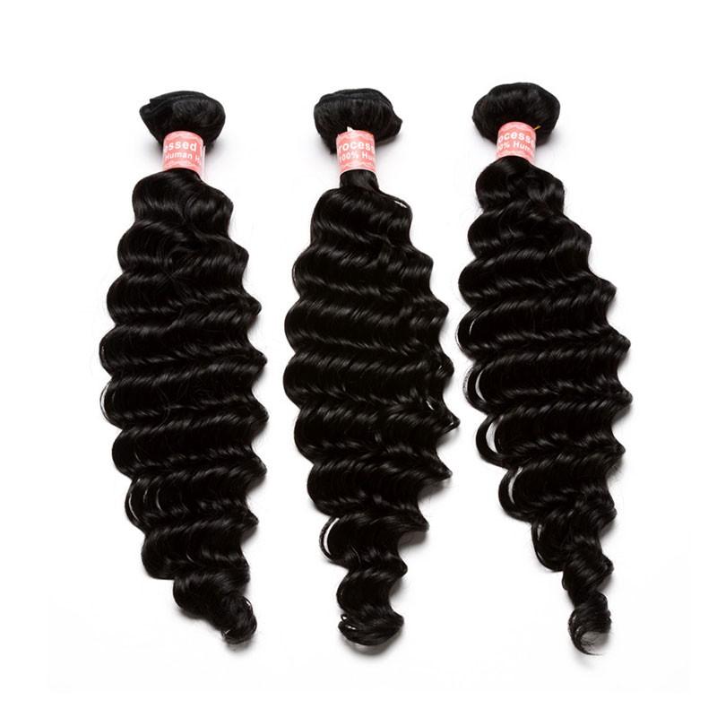 Natural Color Deep Wave Hair Extensions Brazilian Virgin Human Hair