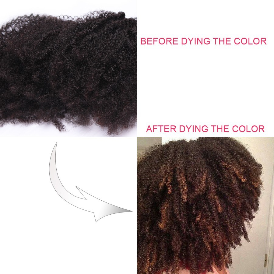 Afro Kinky Curly Brazilian Virgin Clip In Hair Extensions Natural
