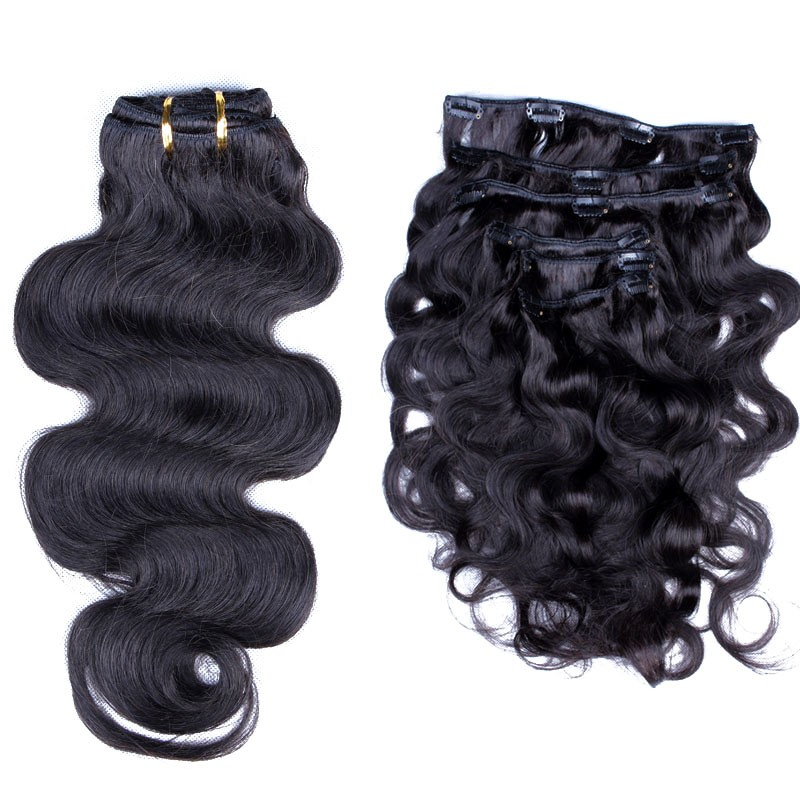 Body Wave Brazilian Virgin Hair Clip In Human Hair Extensions