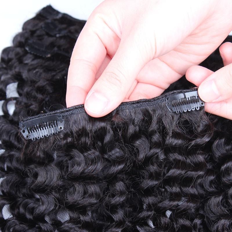 Kinky Curly Brazilian Virgin Hair Clip In Human Hair Extensions