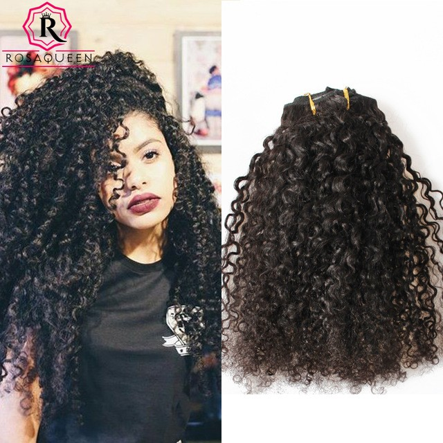 Kinky Curly 3b 3c Brazilian Virgin Hair Clip In Huamn Hair