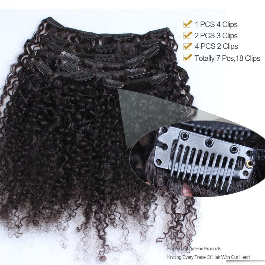 Kinky Curly 3b 3c Brazilian Virgin Hair Clip In Huamn Hair