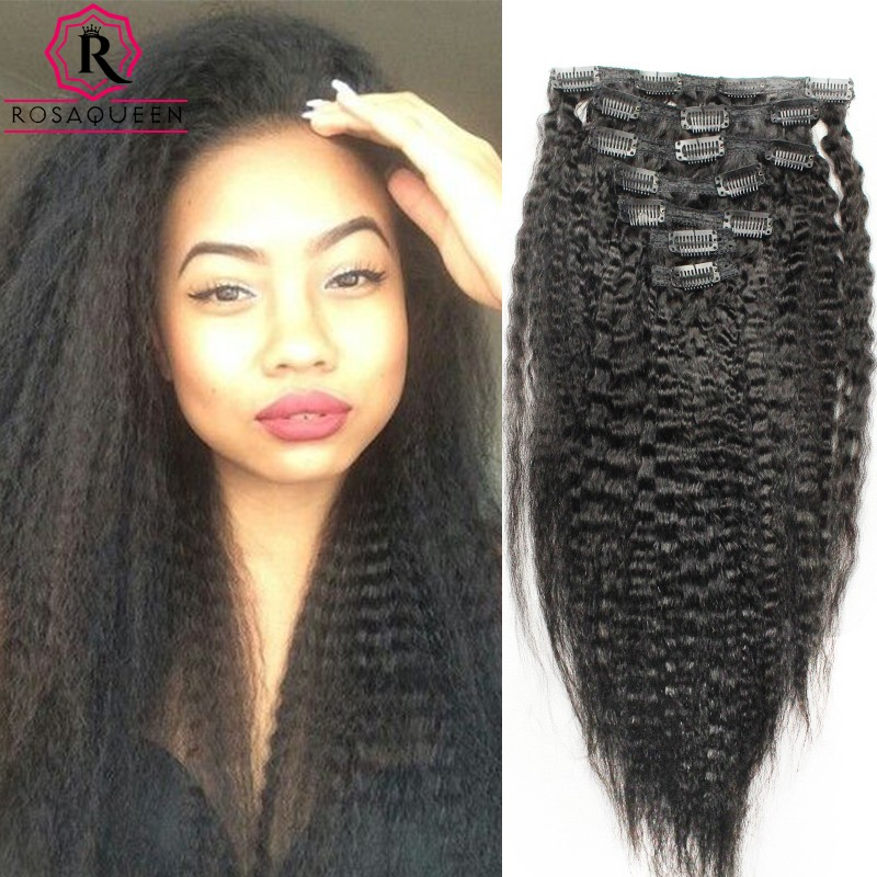 Kinky Straight Brazilian Virgin Hair Clip In Human Hair Extensions